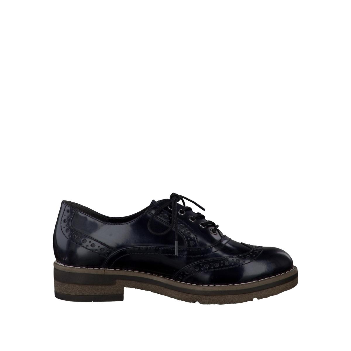 Ботинки-дерби  23316-37Верх/Голенище : синтетика  Подкладка : Текстиль  Стелька : синтетика  Подошва : синтетика  Высота каблука : 3,5 см.  Форма каблука : плоский каблук  Мысок : закругленный.  Застежка : шнуровка<br><br>Цвет: синий морской
