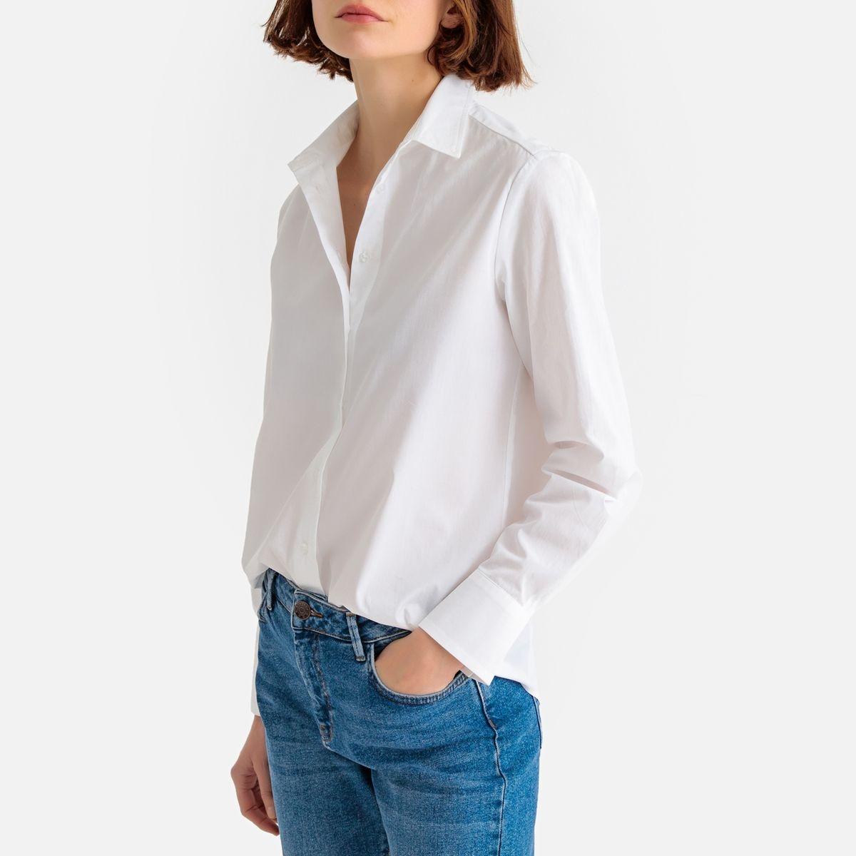 Chemise droite, manches longues, pur coton