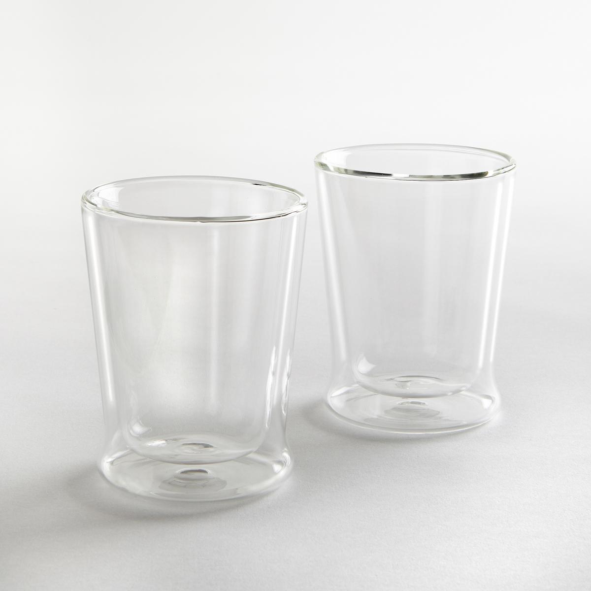 Комплект из 2 стеклянных чашек с двойными стенкамиХарактеристики 2 чашек:- Чашки из прозрачного стекла с двойными стенками.- Диаметр: 8,5 см. - Высота: 10,5 cм. - Подходят для мытья в посудомоечной машине и для использования в микроволновой печи.- В комплекте 2 чашки.<br><br>Цвет: прозрачный
