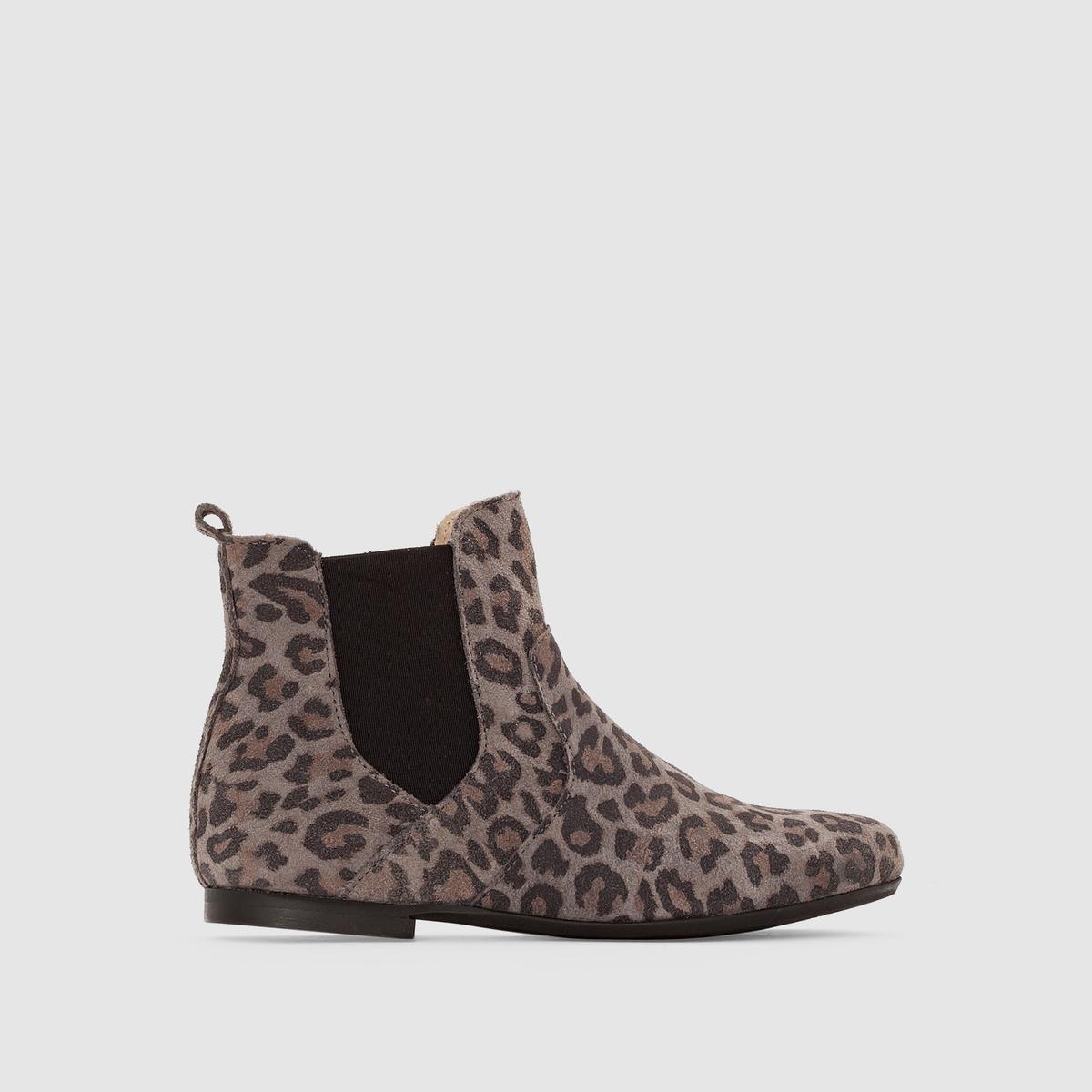Ботильоны из спилка с леопардовым рисунком ботинки из спилка