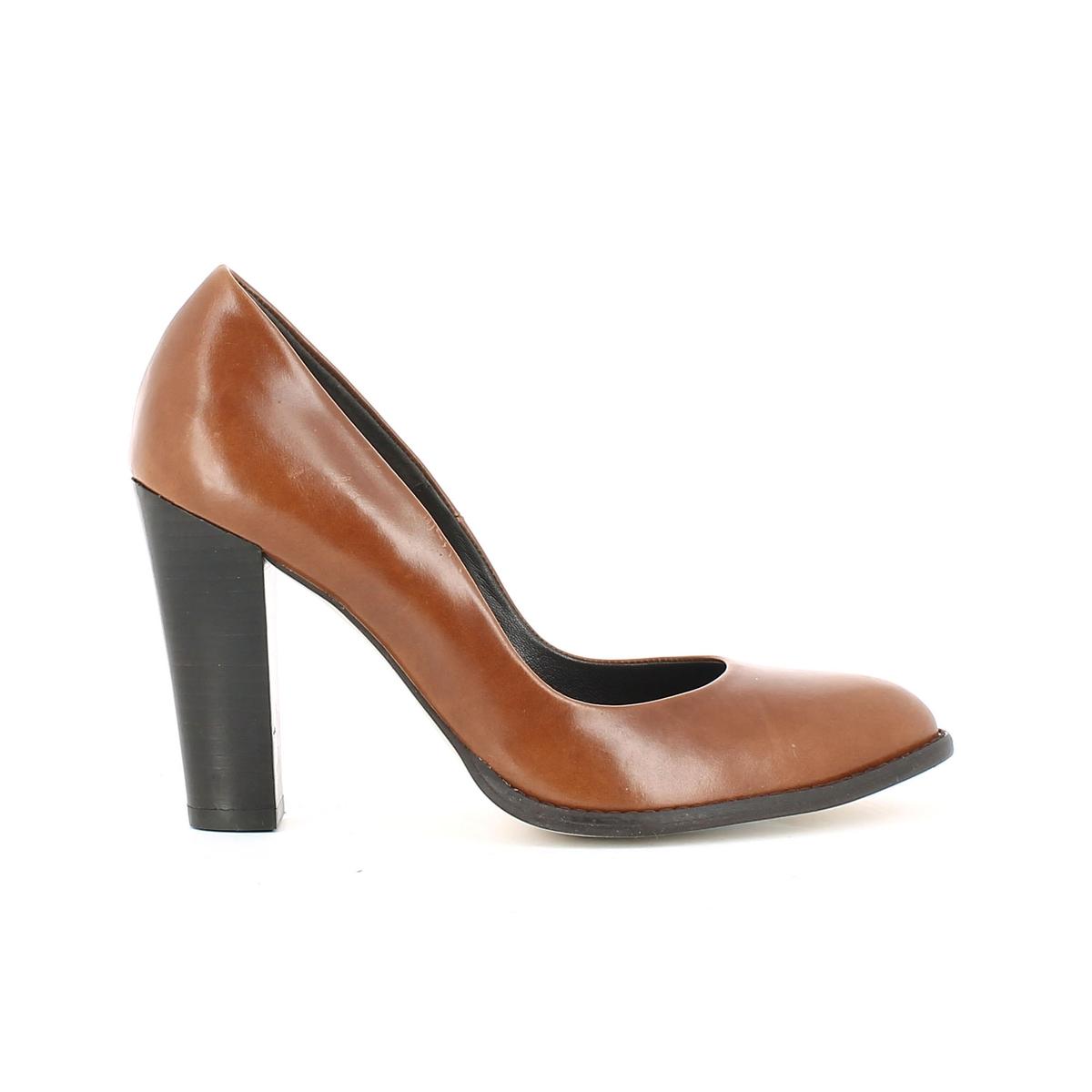 Туфли кожаные на высоком каблуке 11286