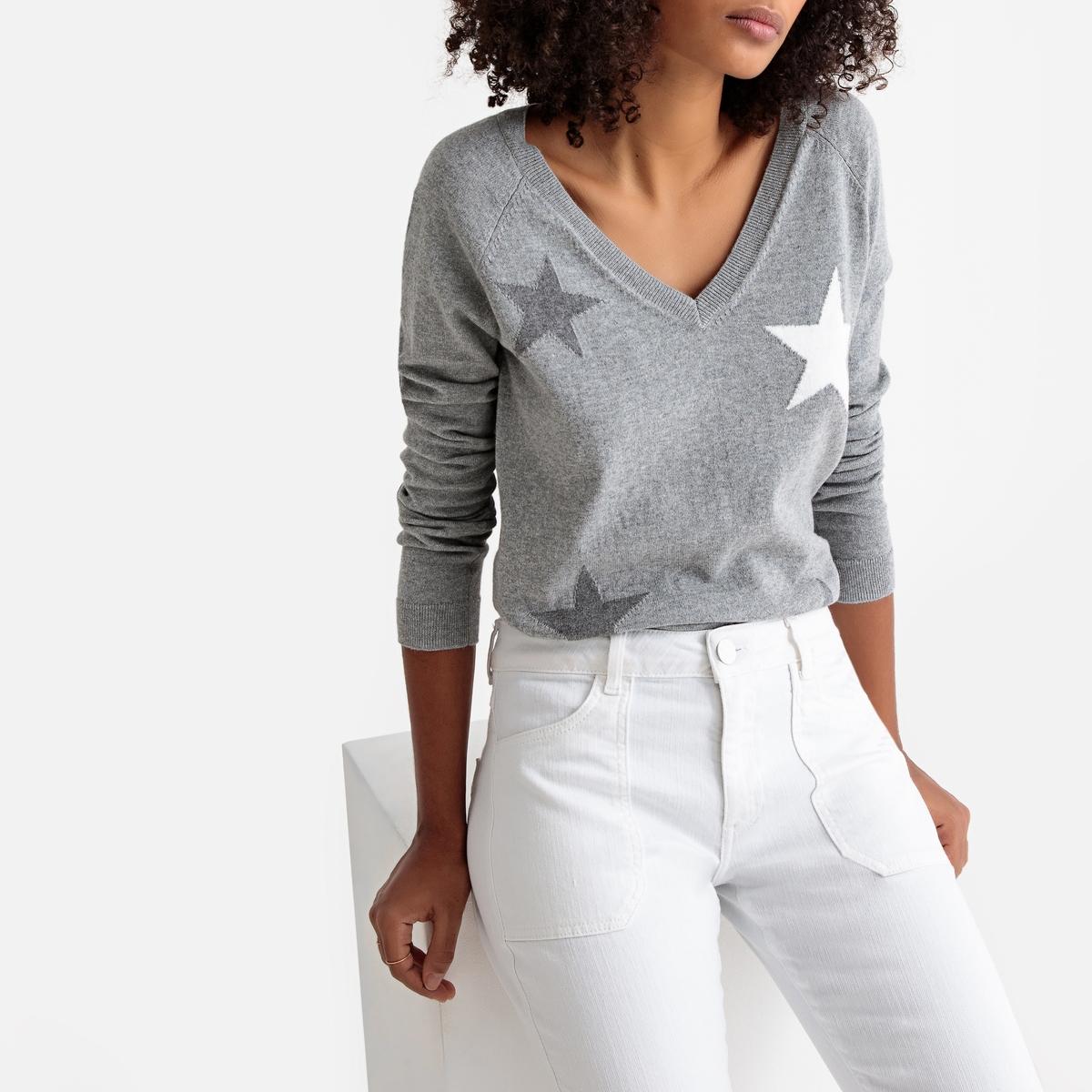 Пуловер с V-образным вырезом и рисунком звезды из тонкого трикотажа
