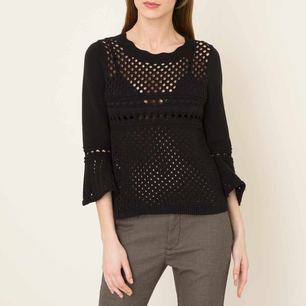 Пуловер из ажурного трикотажа ELEONORСостав и описаниеМатериал : 100% хлопокМарка : BA&amp;SH<br><br>Цвет: черный