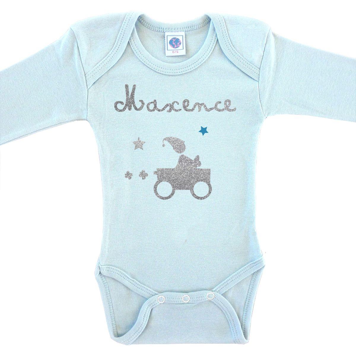 Body bébé prénom en coton manches longues bleu