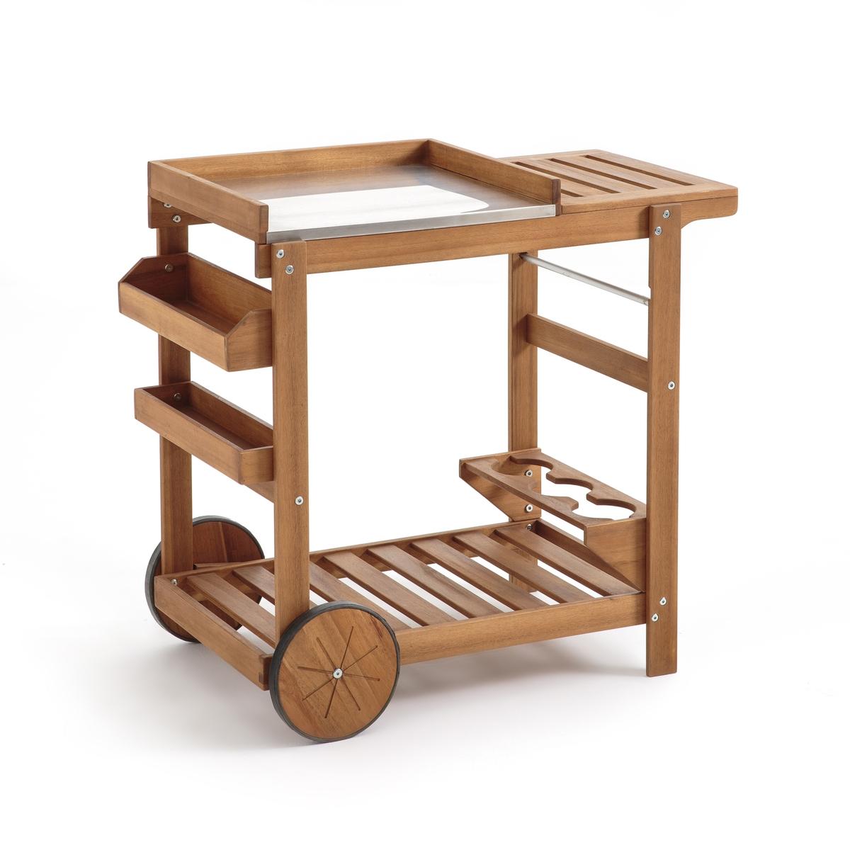 Столик LaRedoute Сервировочный на колесиках для сада Fayvara единый размер бежевый