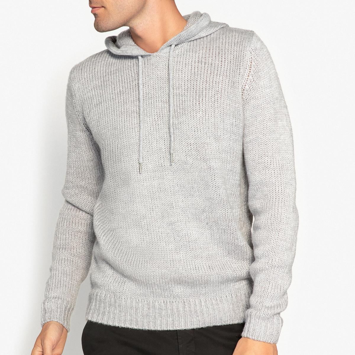 Пуловер с капюшоном, из плотного трикотажа