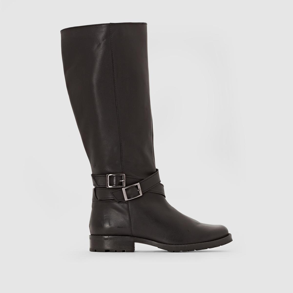 Сапоги кожаные с ремешками для широкой стопы, размер 38-45 от CASTALUNA