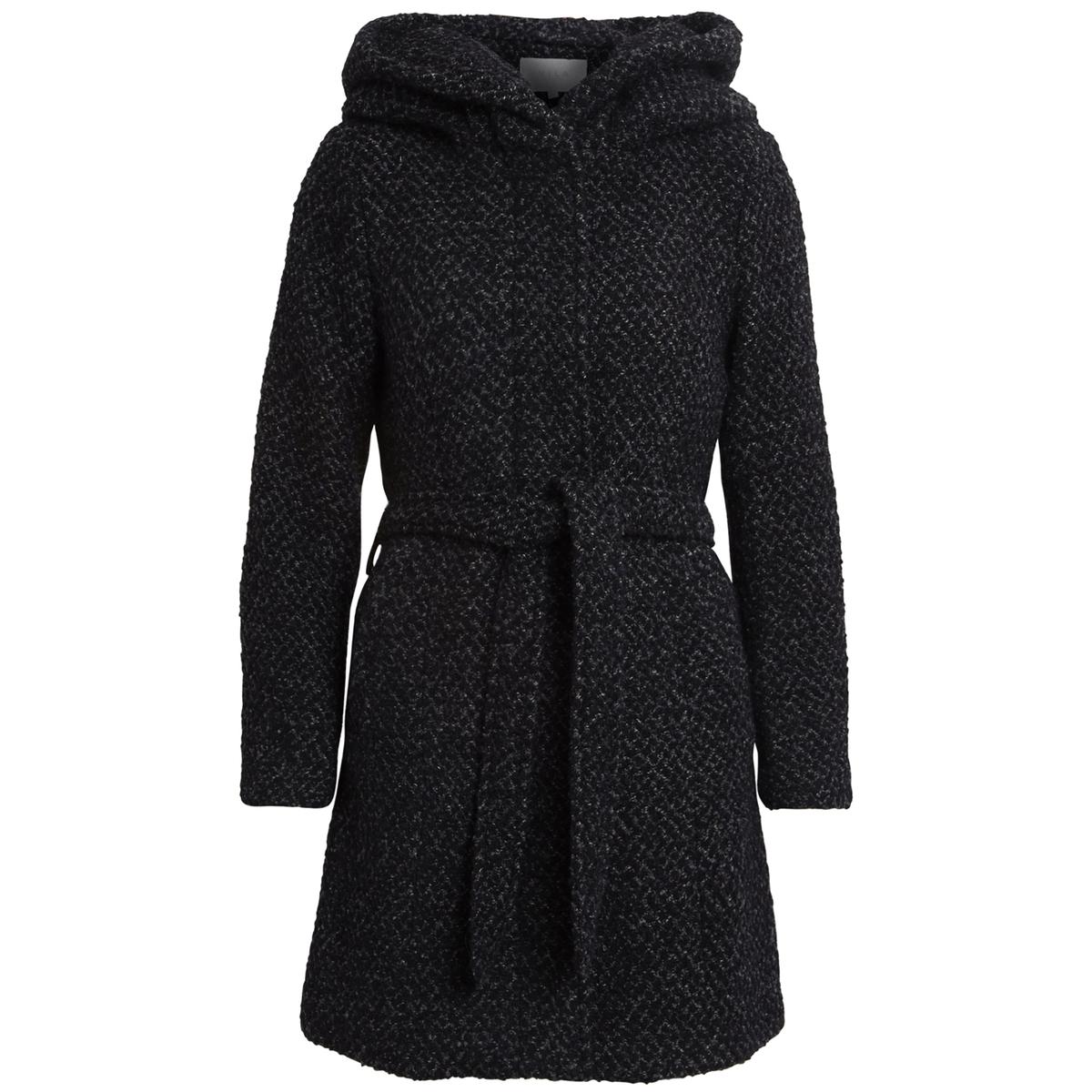 Пальто с капюшономДетали •  Длина  : средняя •  Капюшон  •  Рисунок-принт • Застежка на пуговицы •  С капюшоном Состав и уход •  35% шерсти, 65% полиэстера •  Следуйте советам по уходу, указанным на этикетке<br><br>Цвет: черный меланж