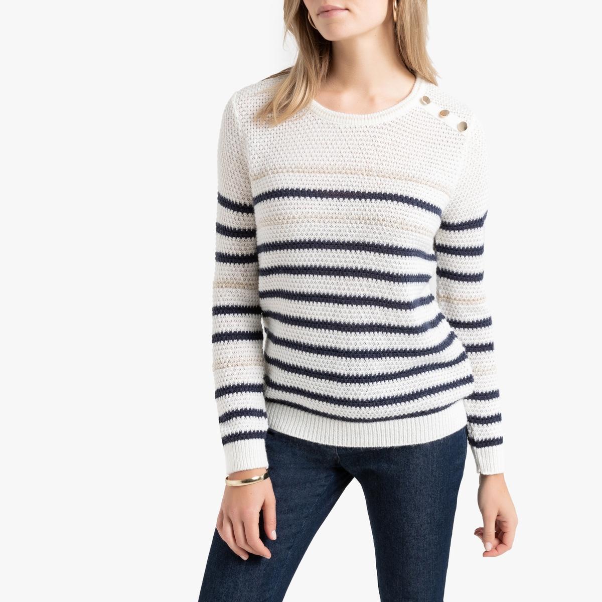 Пуловер La Redoute В полоску в морском стиле из плотного трикотажа 50/52 (FR) - 56/58 (RUS) синий