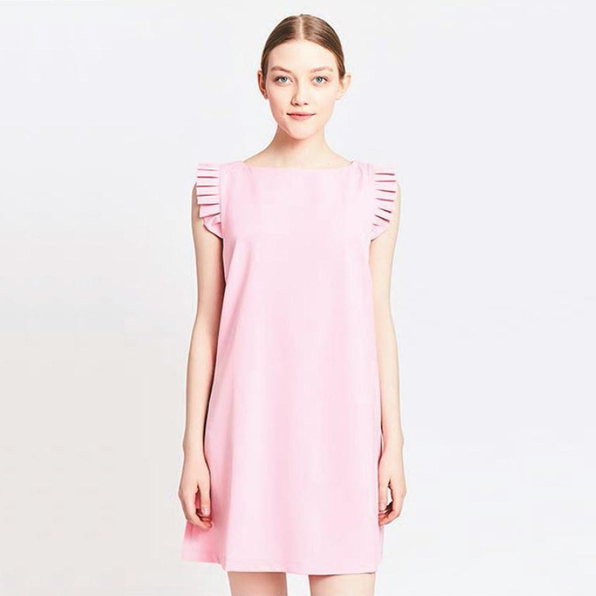 Платье прямое с воланами на рукавахМатериал : 5% эластана, 95% полиэстера  Длина рукава : без рукавов  Форма воротника : круглый вырез Покрой платья : платье прямого покроя      Рисунок : однотонная модель   Длина платья : короткое<br><br>Цвет: розовый