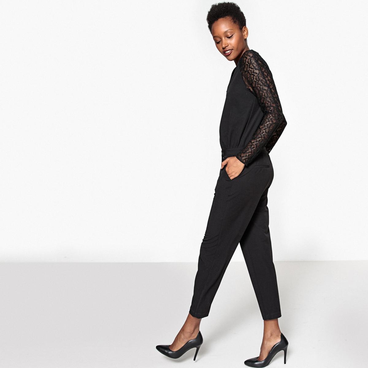 Комбинезон с брюками, рукава кружевные