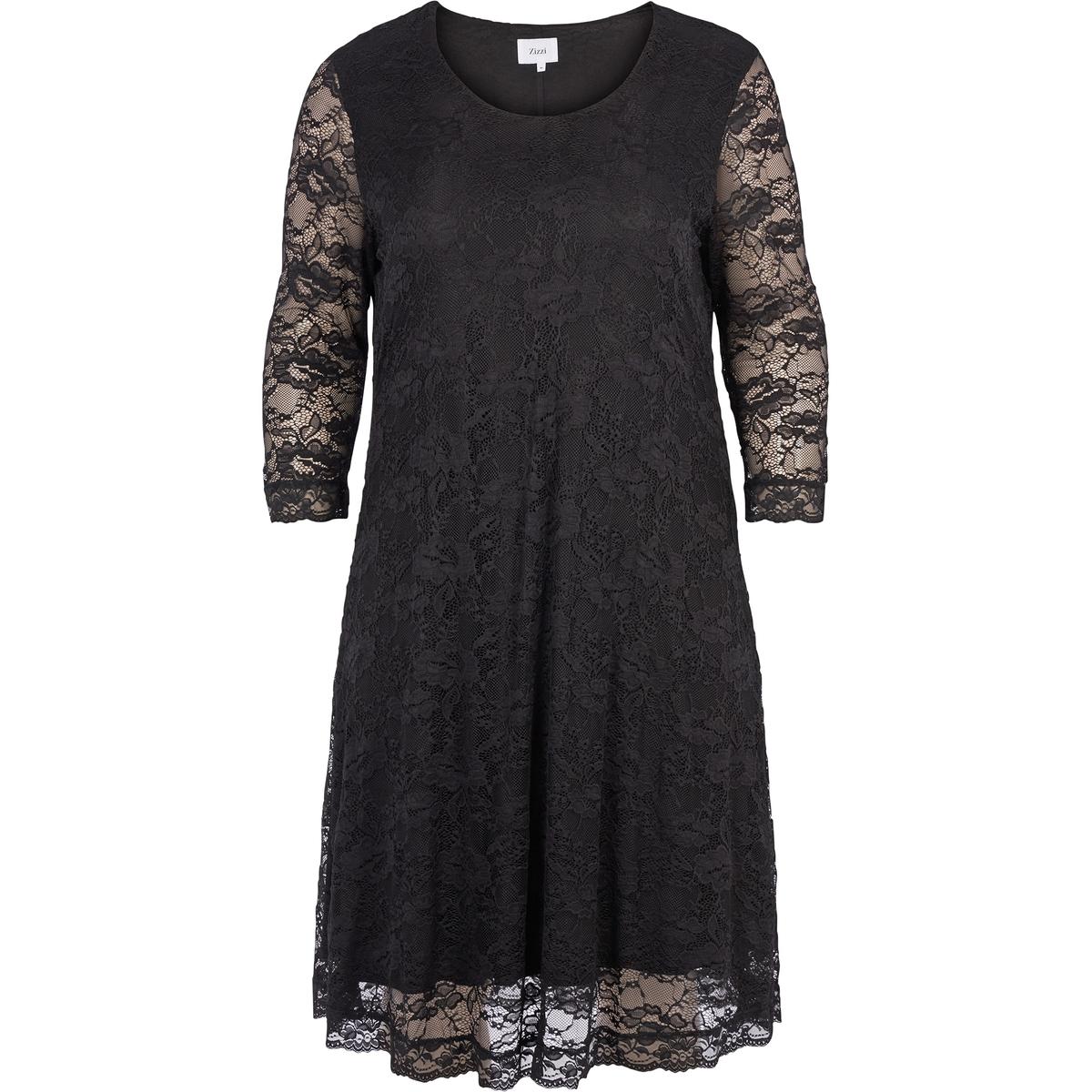 Платье прямое однотонное средней длины, с рукавами 3/4Детали •  Форма : прямая •  Длина до колен •  Рукава 3/4    •   V-образный вырезСостав и уход •  10% эластана, 90% полиамида •  Следуйте советам по уходу, указанным на этикеткеТовар из коллекции больших размеров<br><br>Цвет: черный<br>Размер: 42/44 (FR) - 48/50 (RUS)
