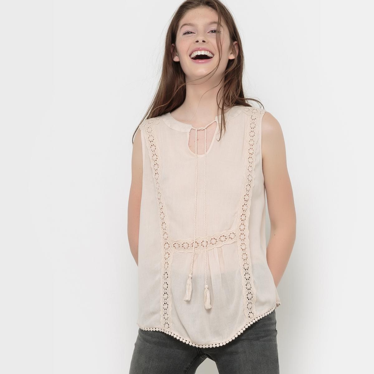 VERO MODA Блузка без рукавов с V-образным вырезом и помпонами, VMSILJA