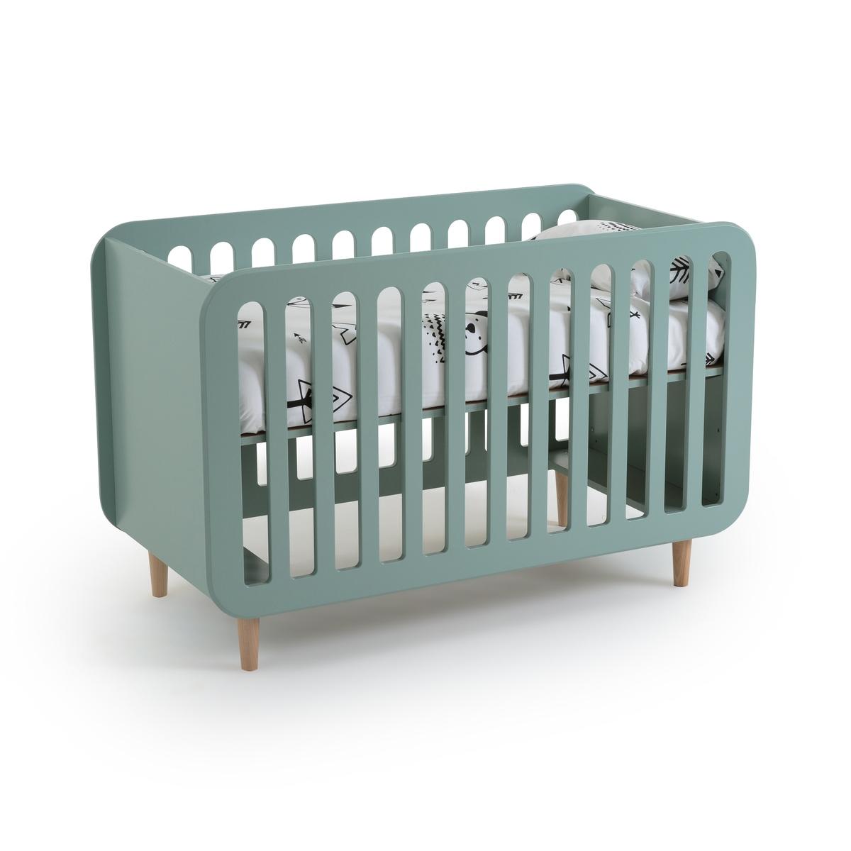 Кровать LaRedoute Детская с регулируемой основой под матрас Jimi 60 x 120 см зеленый