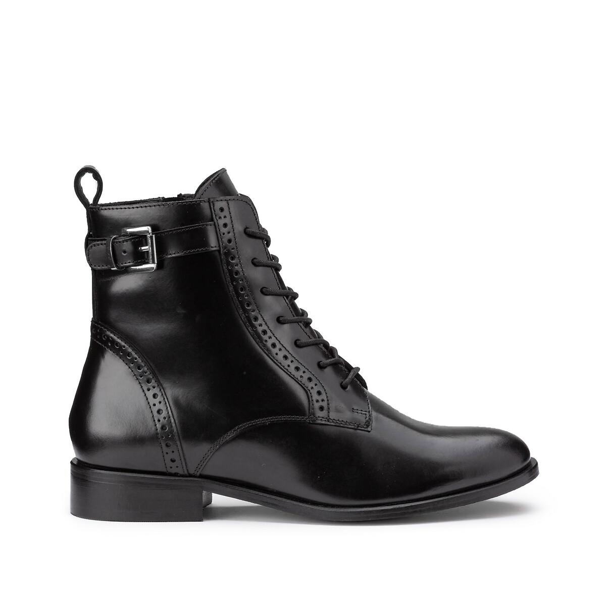 Фото - Ботинки LaRedoute Из кожи на плоском каблуке 40 черный сандалии la redoute из кожи с перекрещенными ремешками на плоском каблуке 39 розовый