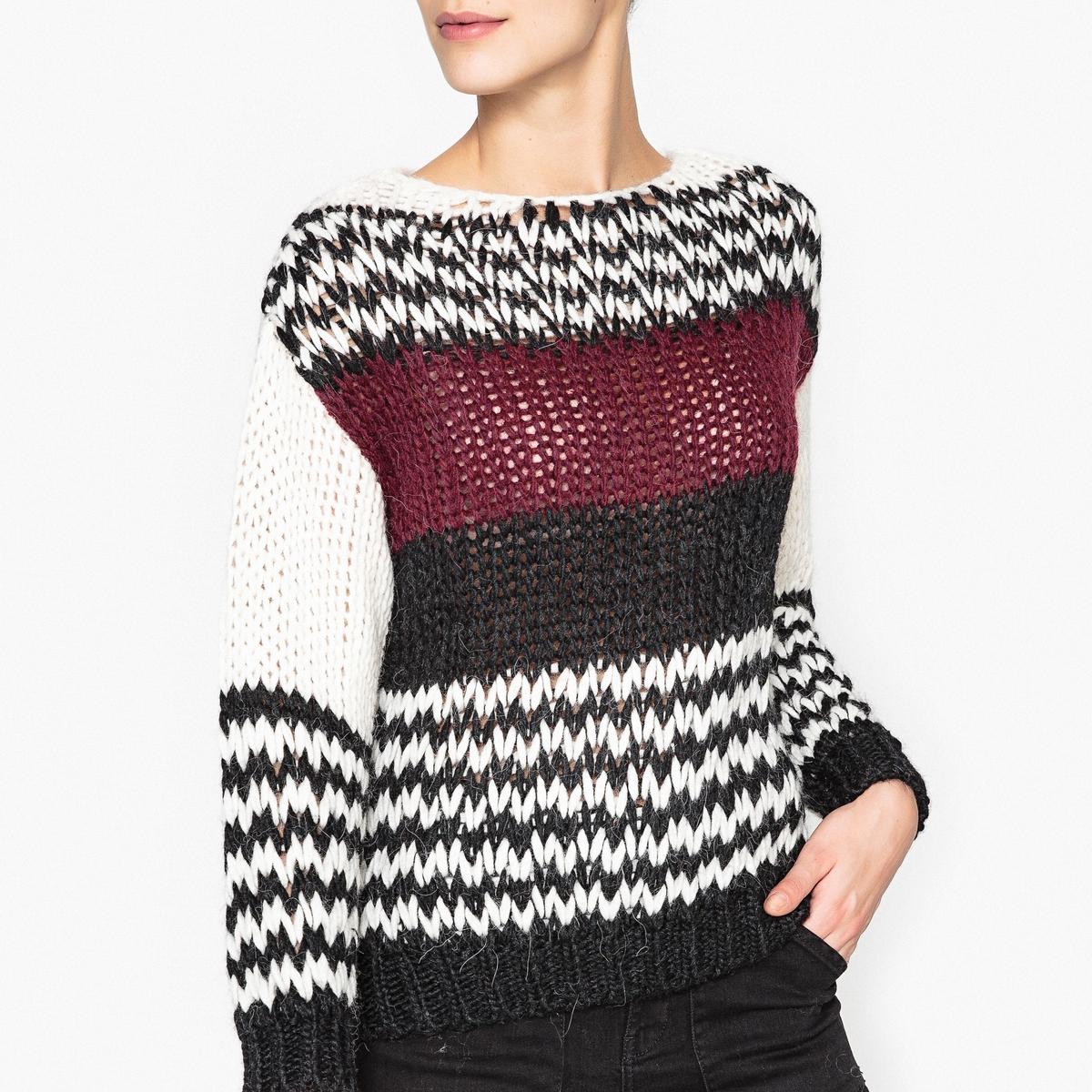 Пуловер со вставкой, из шерсти меланж BANGS