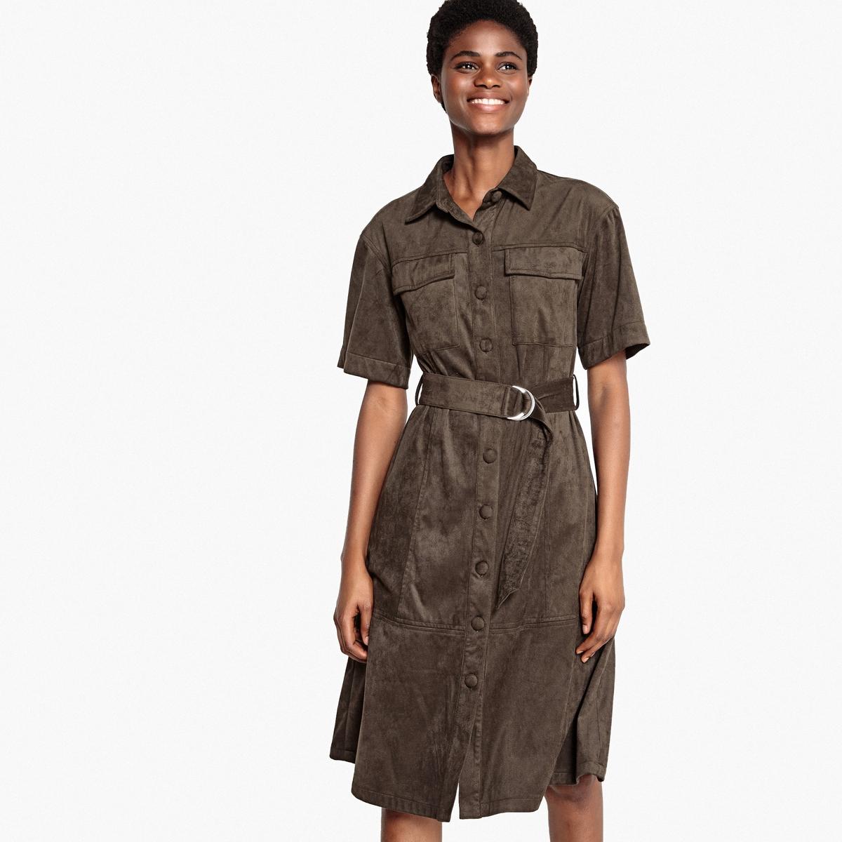 Платье-рубашка с эффектом искусственной замши и застёжкой на пуговицы спереди