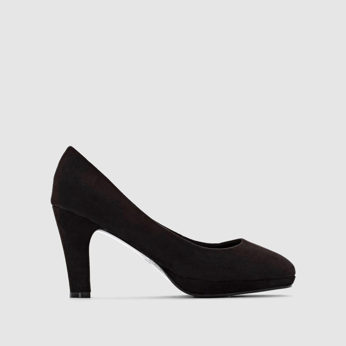 Туфли на низкой платформе и на каблуке.Туфли Taillissime, размеры 38-45 по уникальной цене! Полнота стопы: широкая.Верх: искусственная замша.Подкладка: ткань.Стелька: кожа на пористой основе. Подошва: нескользящий эластомер.Высота каблука: 8,5 см.Преимущества: комфортная платформа под подушечкой стопы,1,5 см и устойчивый каблук, 8,5 см.РАЗМЕР: Советуем заказывать данную модель на размер больше. вашего обычного размера.<br><br>Цвет: синий индиго,черный<br>Размер: 41.40.41