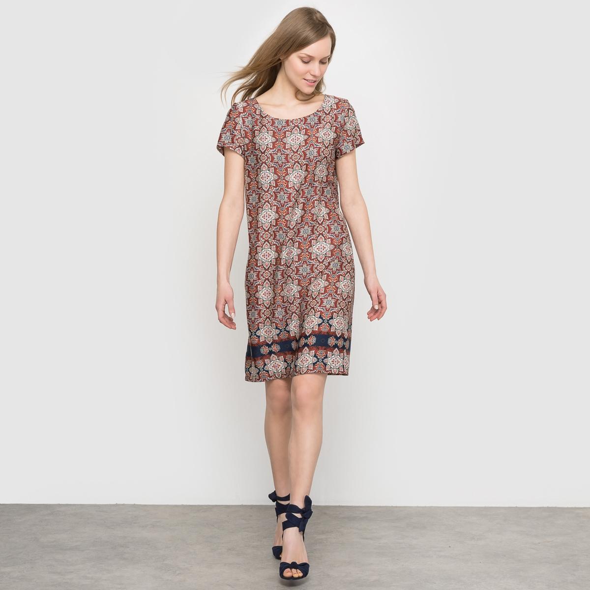 Платье с короткими рукавами  рисунком
