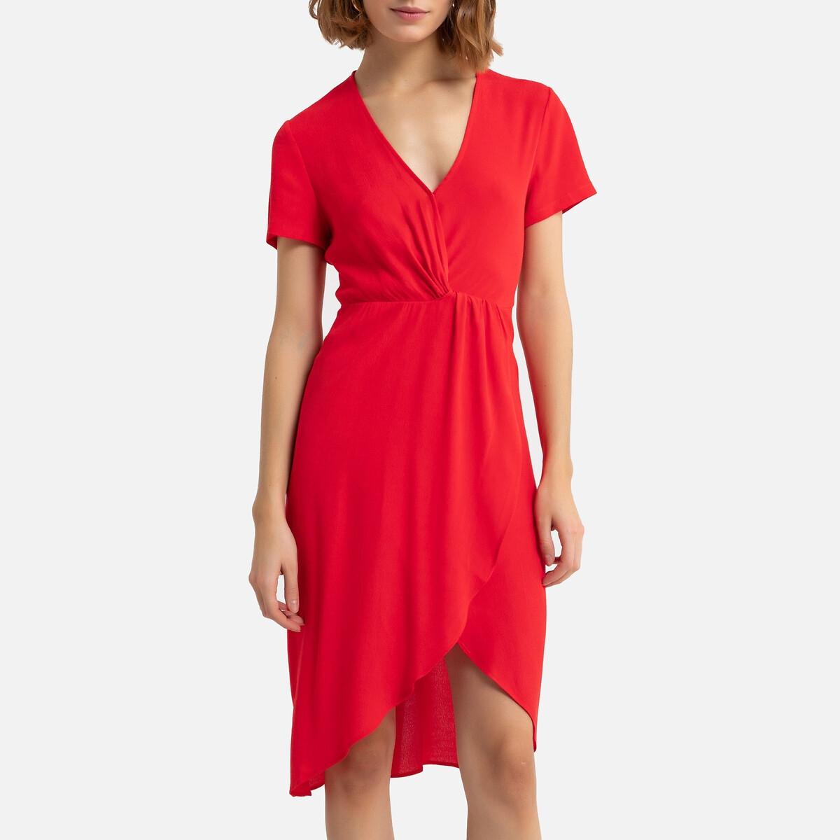 цена на Платье-миди La Redoute V-образный вырез эффект драпировки 1(S) красный