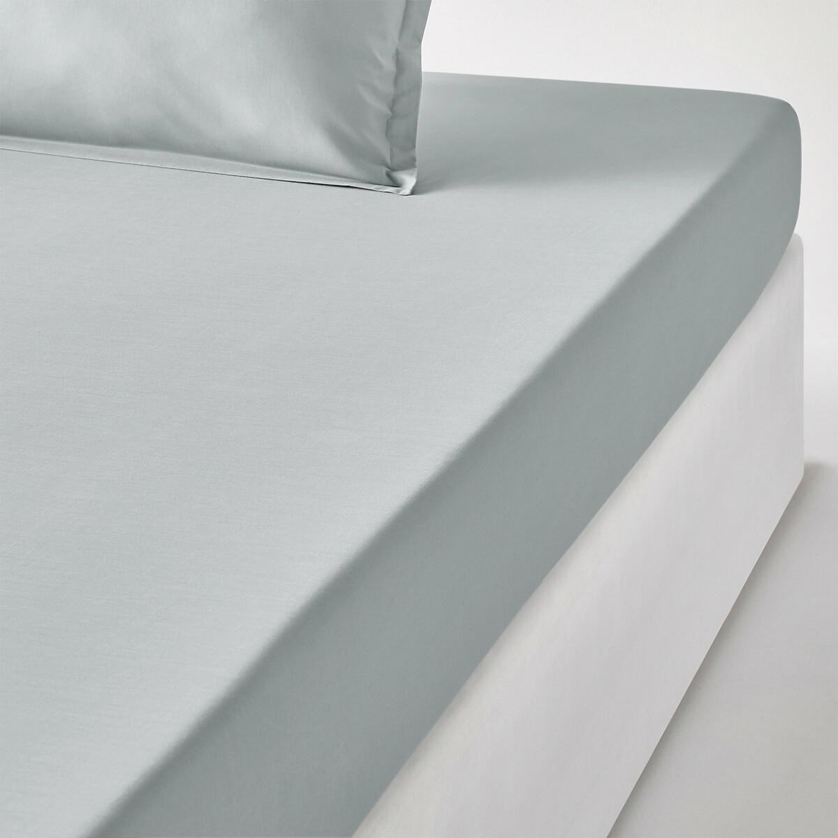 Простыня LaRedoute Натяжная детская из хлопковой перкали качество Qualit Best 90 x 190 см серый недорого