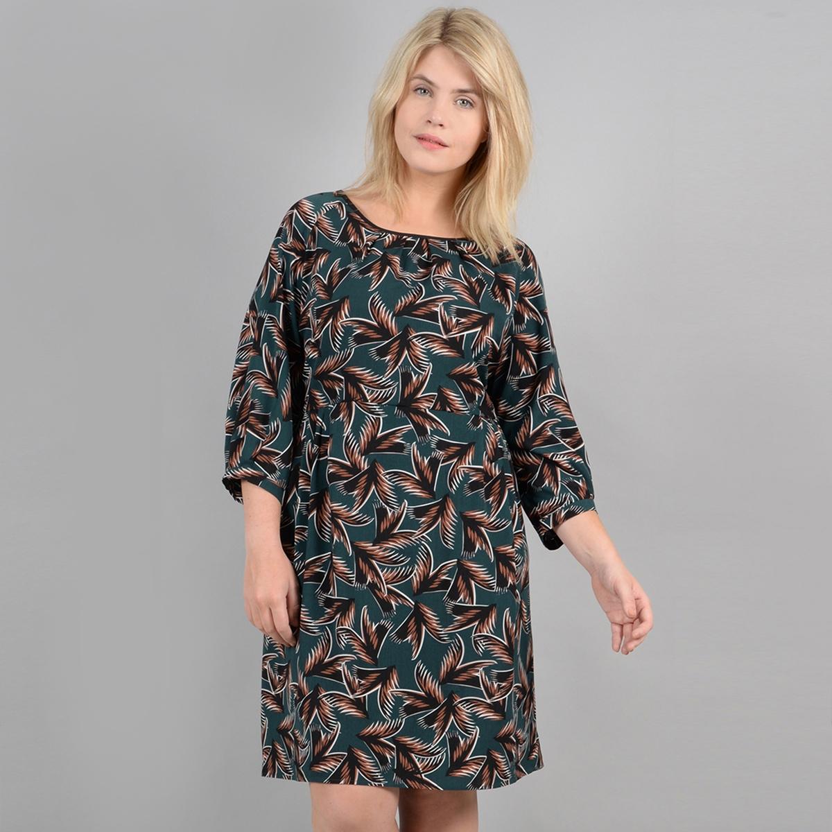 Платье La Redoute С графическим принтом круглый вырез рукава 50 (FR) - 56 (RUS) зеленый табурет с каретной стяжкой белый 40х40 см