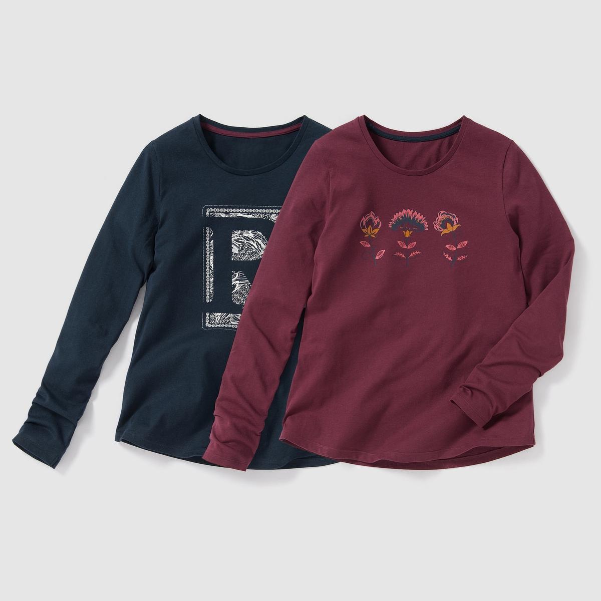 Комплект из 2 футболок с длинными рукавами и рисунком, 10-16 летФутболка с длинными рукавами и круглым воротником. Комплект из 2 штук : 1 футболка с рисунком ''R'' спереди + 1 футболка с цветочным рисунком спереди.                                Состав и описание :                       Материал: джерси, 100% хлопка                      Марка: R ?dition.                                              Уход :                      Машинная стирка при 30 °C с вещами схожих цветов.                      Стирка и сушка с изнаночной стороны.                      Машинная сушка в умеренном режиме.                      Гладить на средней температуре.<br><br>Цвет: темно-синий + красный