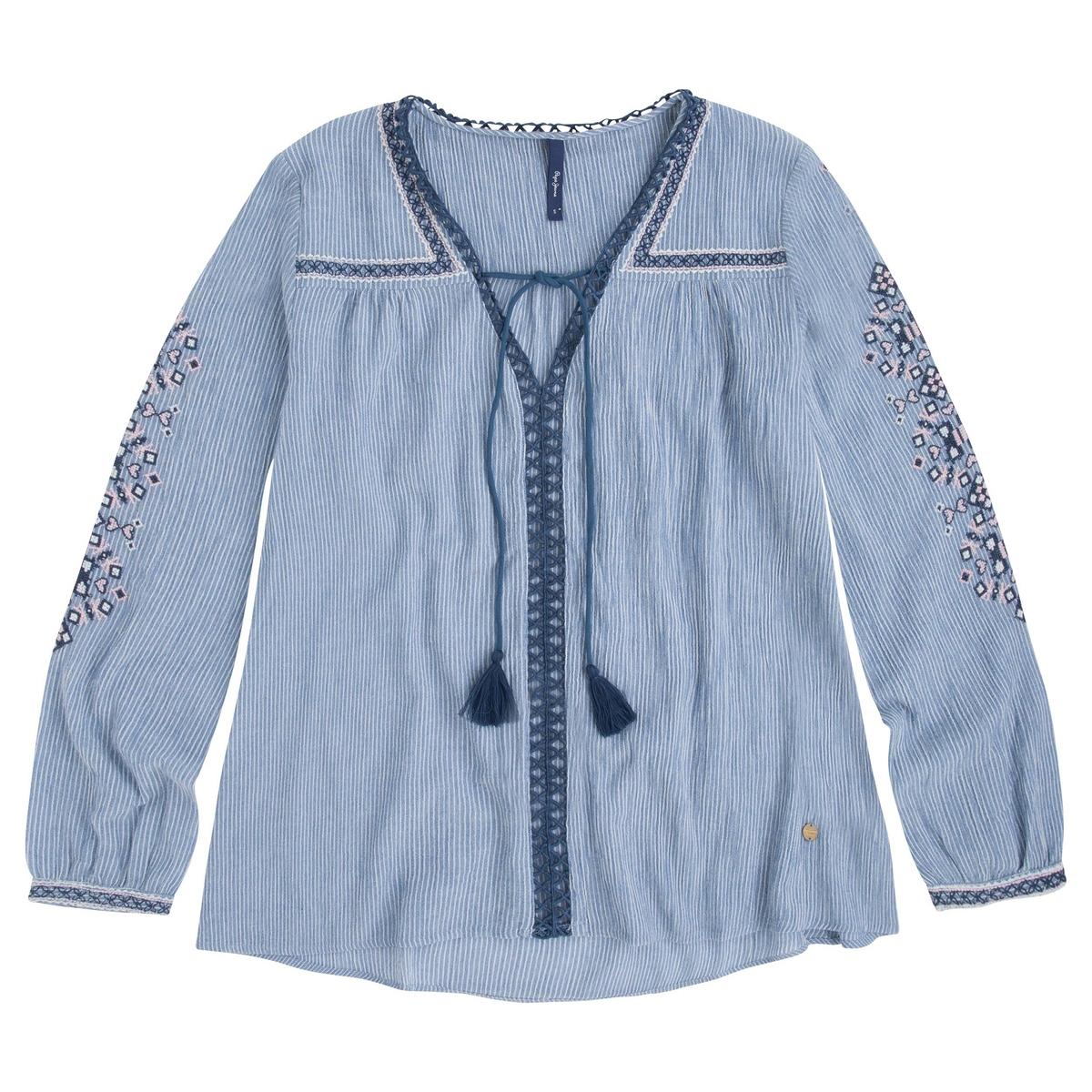 Блузка с вышивкой с длинными рукавамиМатериал : 100% хлопок  Длина рукава : Длинные рукава Форма воротника : V-образный вырез Длина : Стандартная  Рисунок : в полоску. Особенности : С вышивкой<br><br>Цвет: в полоску синий/белый
