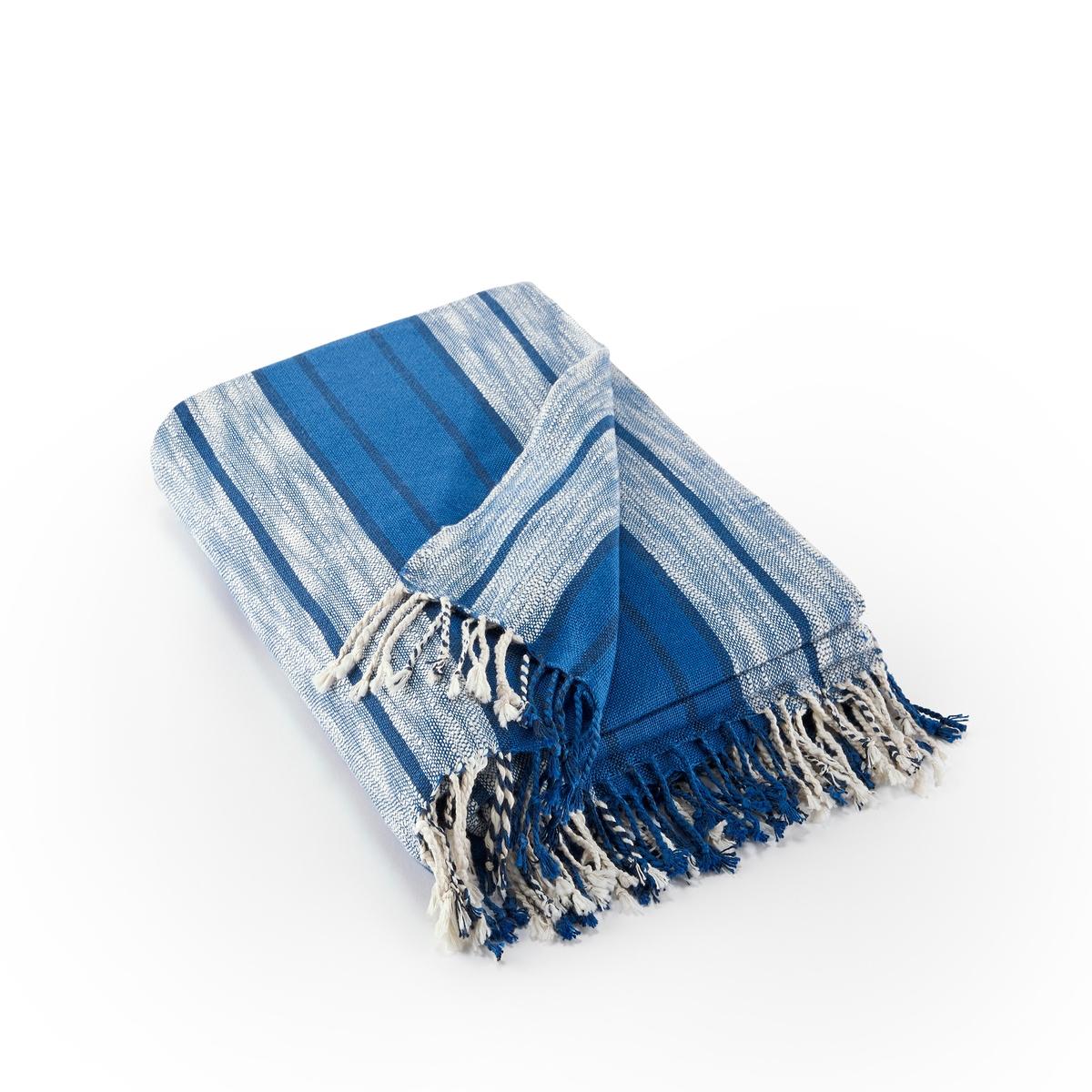 цена на Плед La Redoute В полоску с бахромой Luana 130 x 170 см синий