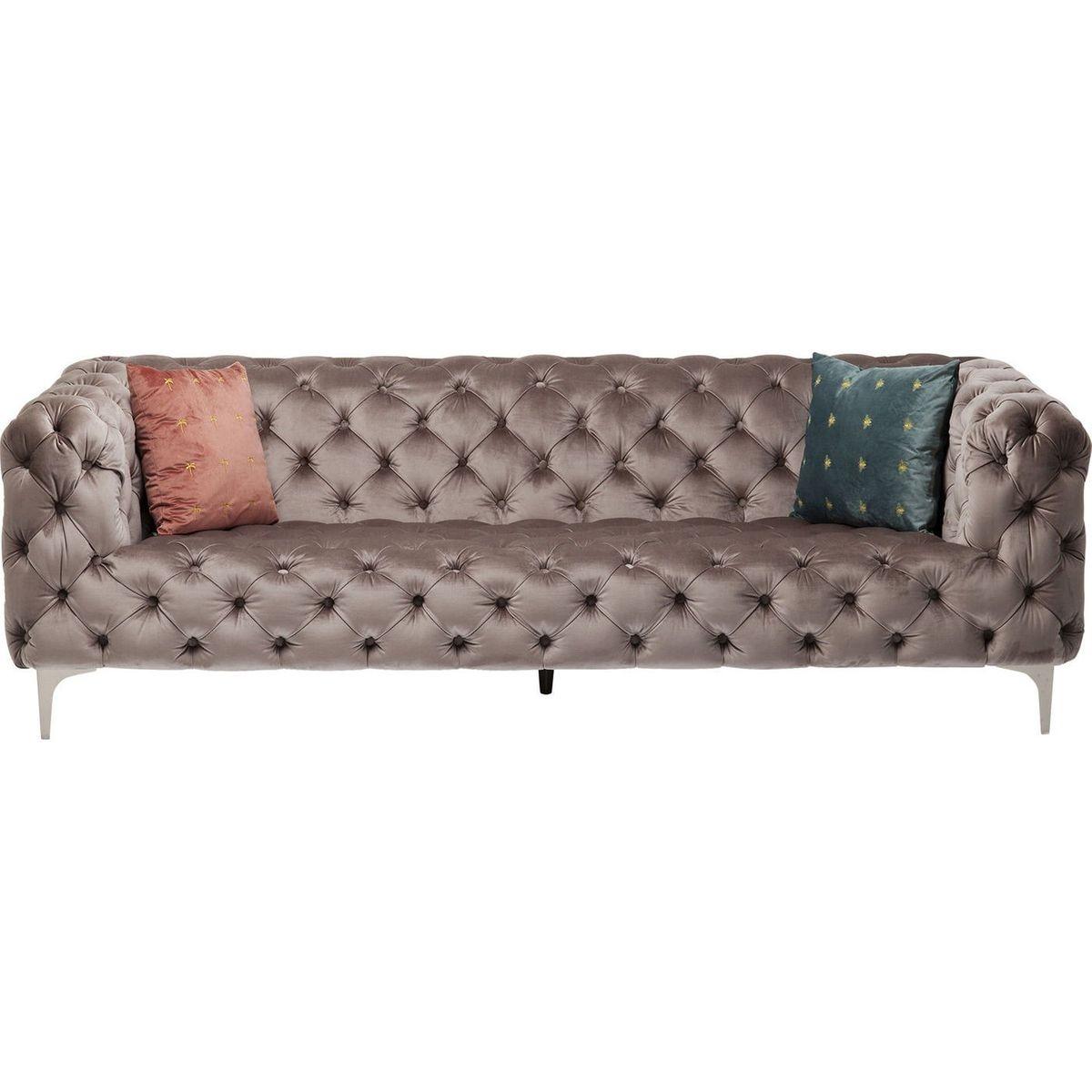 Canapé en velours taupe design Kare