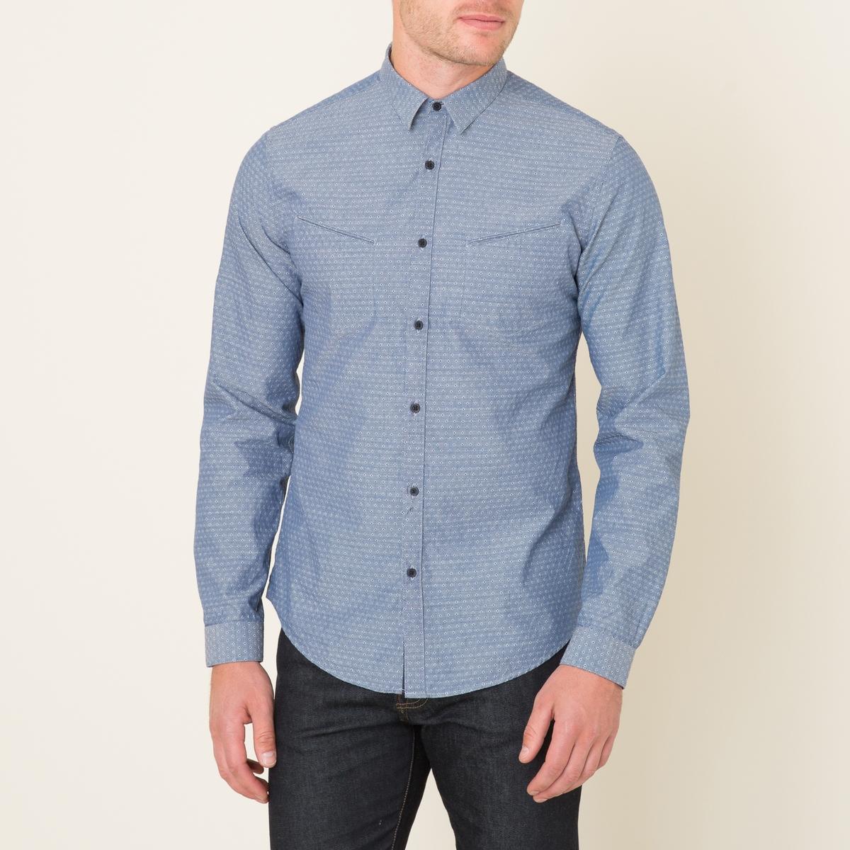 Рубашка с жаккардовым микропринтомСостав и описание    Материал : 100% хлопок   Планка застежки на пуговицы 100% полиэстер   Марка : THE KOOPLES<br><br>Цвет: синий
