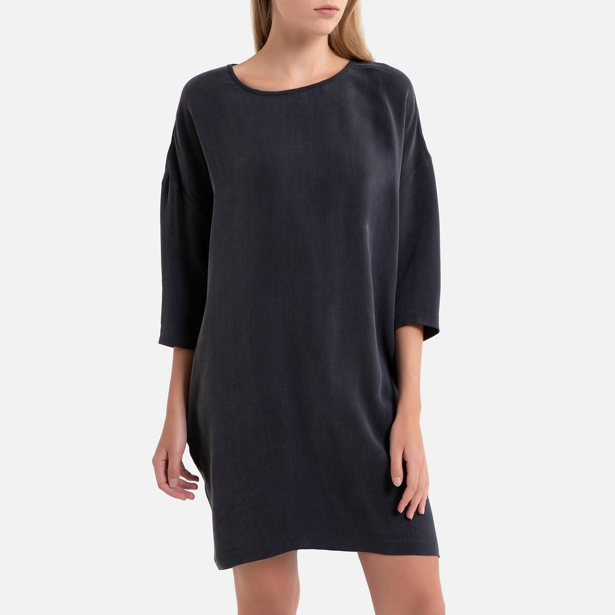 цена Платье La Redoute Прямое с рукавами BABARUM S серый онлайн в 2017 году