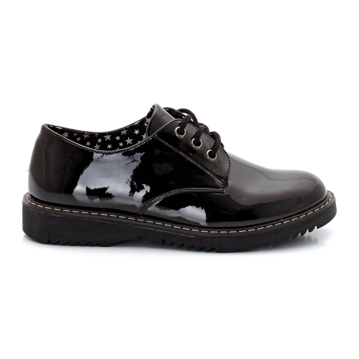 Ботинки-дерби лакированные на шнуровке ботинки дерби синтетические
