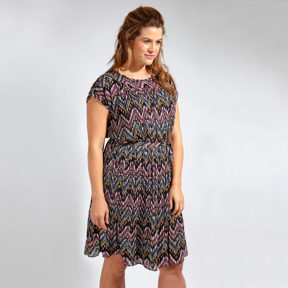 ПлатьеПлатье с короткими рукавами KOKO BY KOKO. Круглый вырез. 100% полиэстер<br><br>Цвет: набивной рисунок<br>Размер: 58/60 (FR) - 64/66 (RUS)