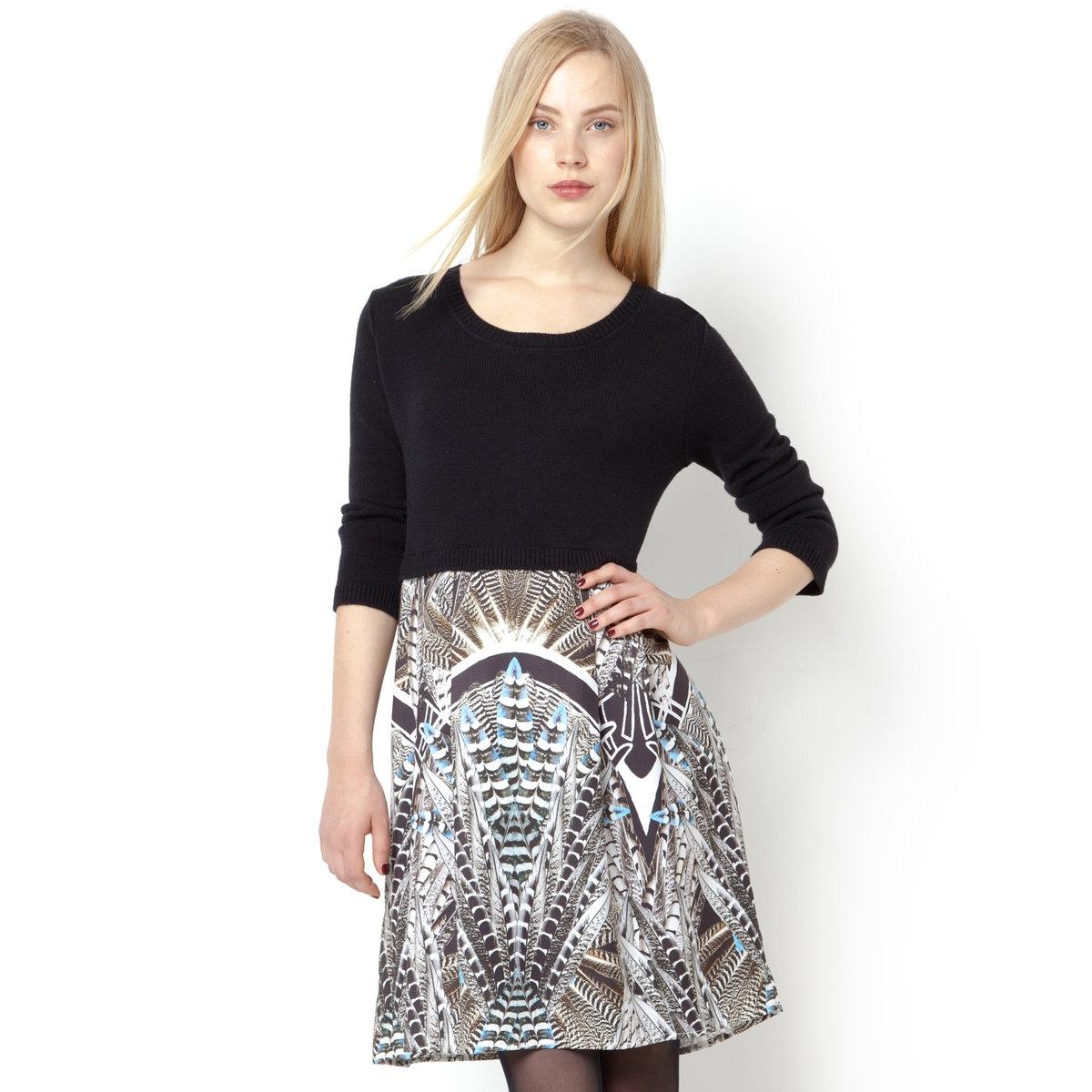 Платье с круглым вырезомПлатье RENE DERHY. 34% шерсти, 34% акрила, 32% полиэстера. Длинные рукава. Круглый вырез.<br><br>Цвет: черный<br>Размер: M