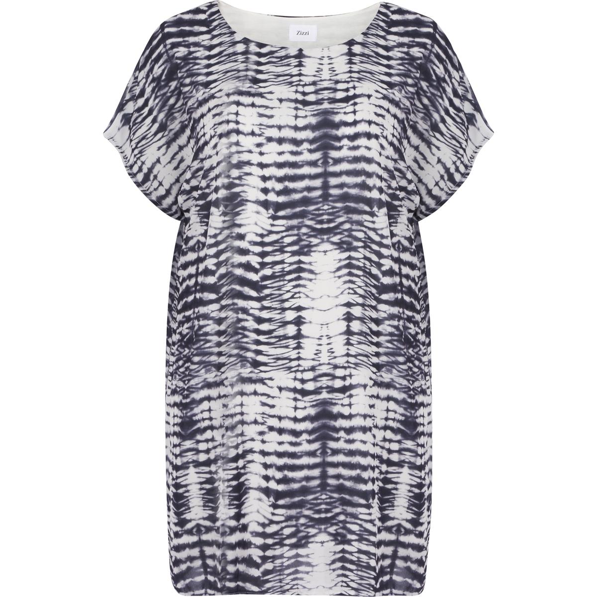 ПлатьеПлатье с рисунком с короткими рукавами ZIZZI. Круглый вырез. 100% вискоза<br><br>Цвет: набивной рисунок