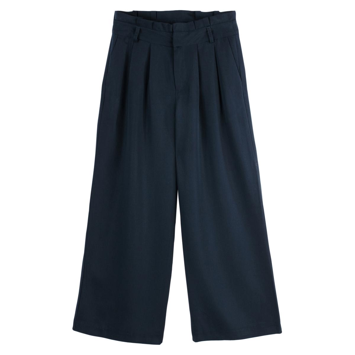 Pantalón loose ancho de Lyocell, talle algo