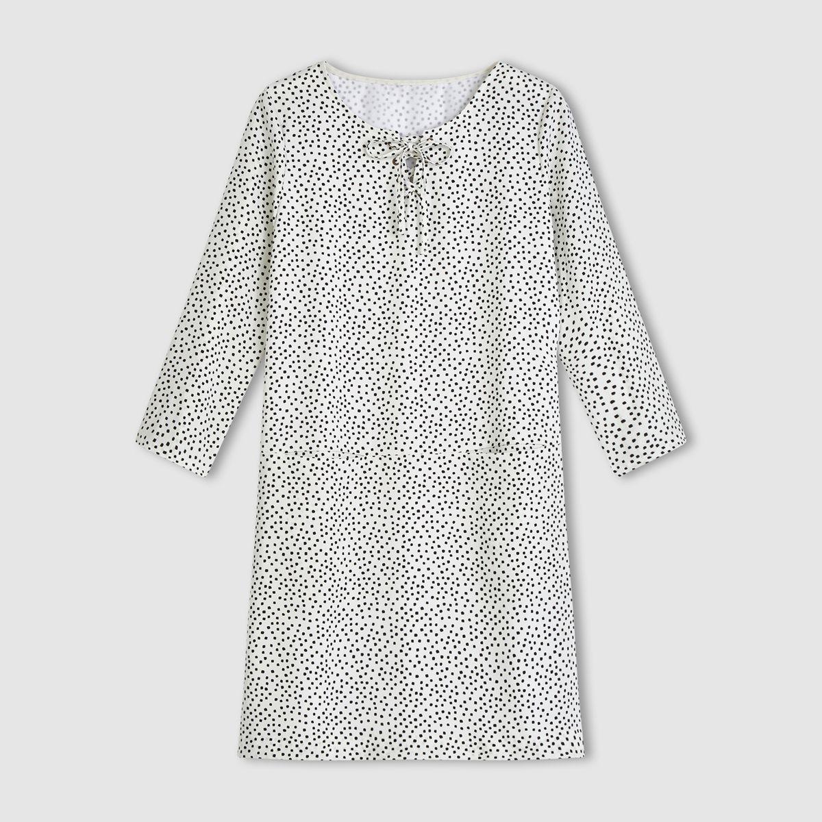 Robe courte manches 3/4 encolure lacée