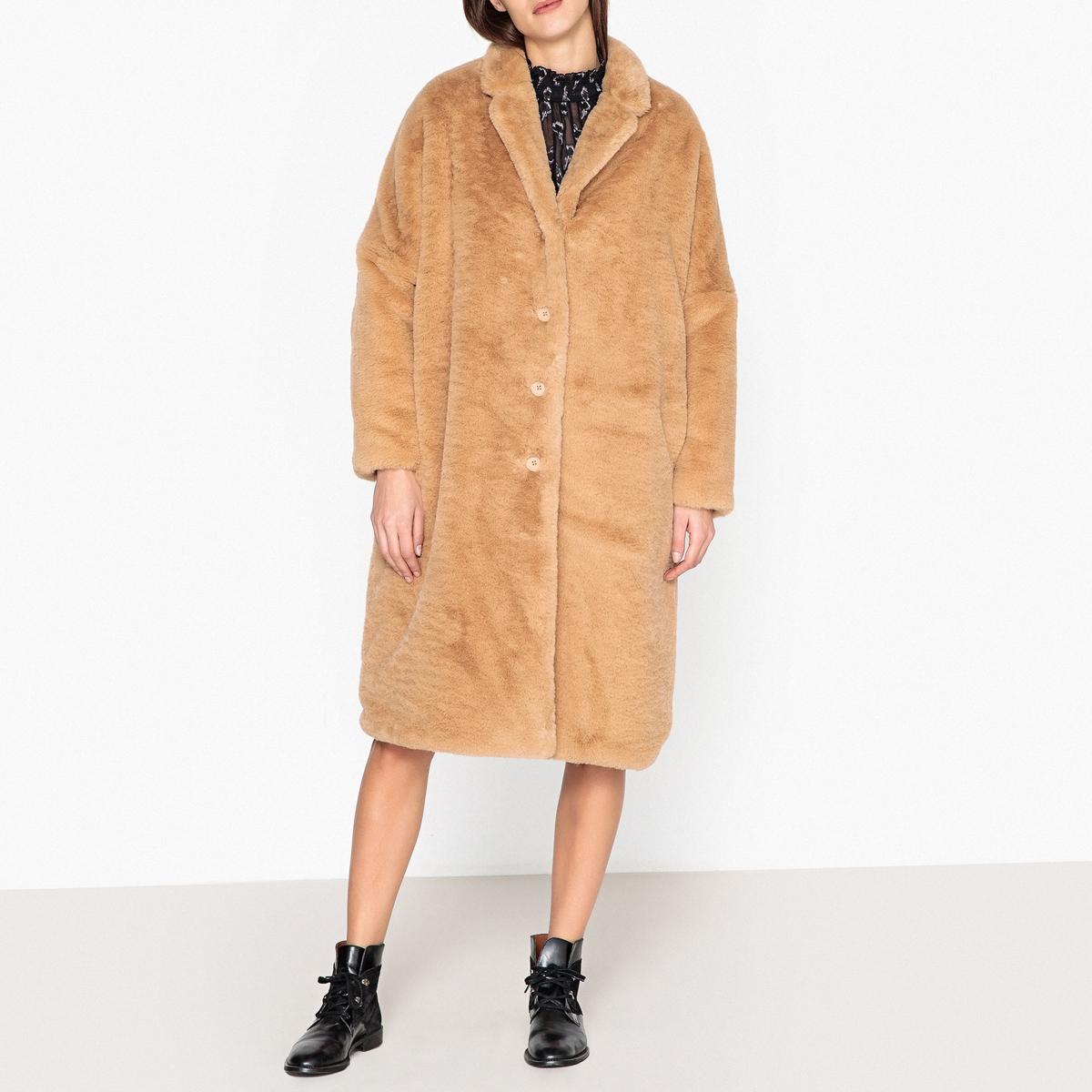 Пальто длинное с искусственным мехом GAZETTE