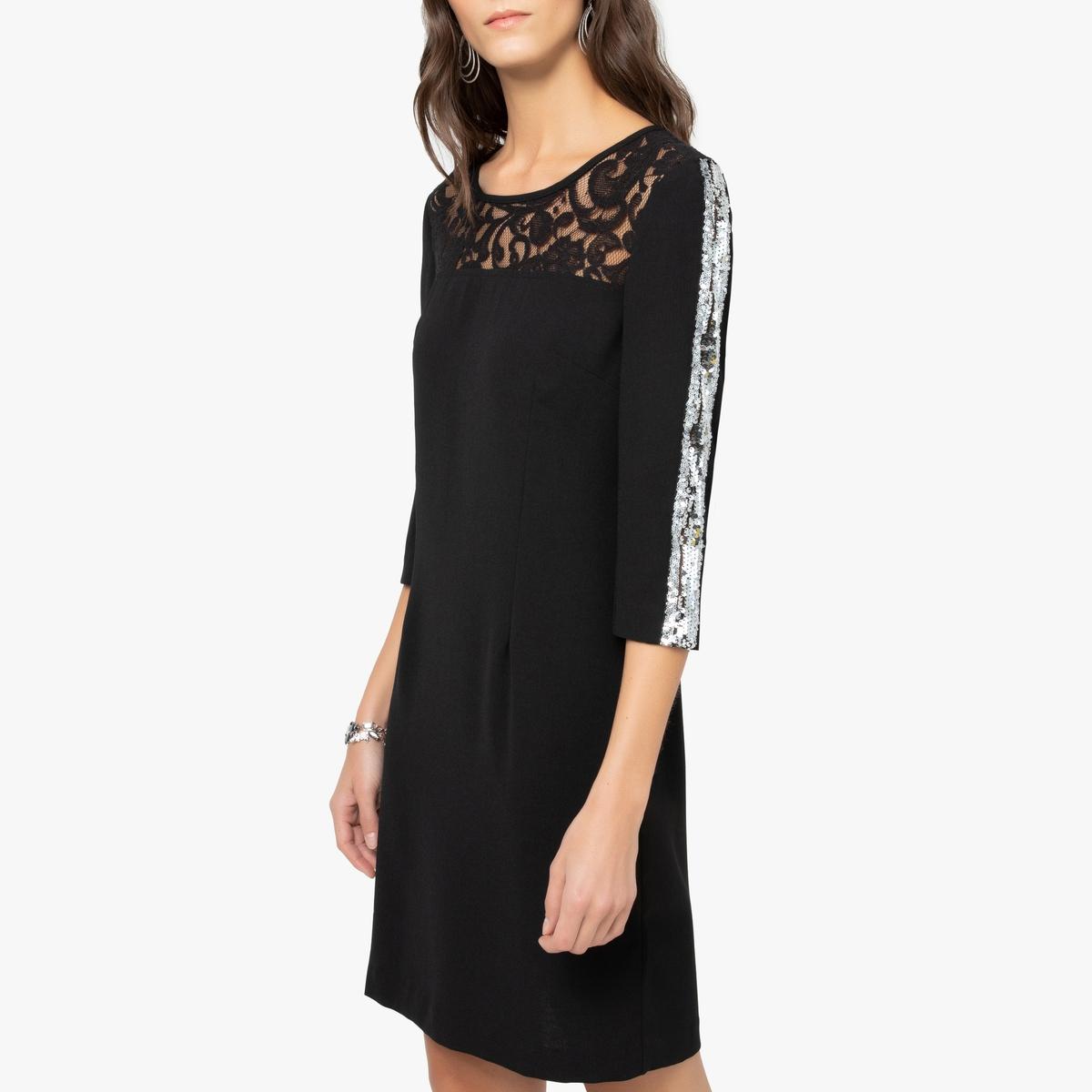 Платье La Redoute Прямое из гипюра с рукавами 44 (FR) - 50 (RUS) черный