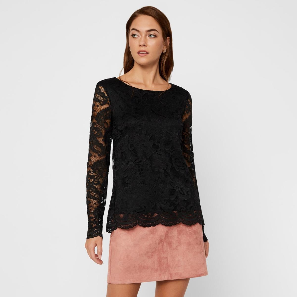 Блузка La Redoute Из кружева с круглым вырезом и длинными рукавами XS черный пуловер la redoute с круглым вырезом и длинными рукавами l красный
