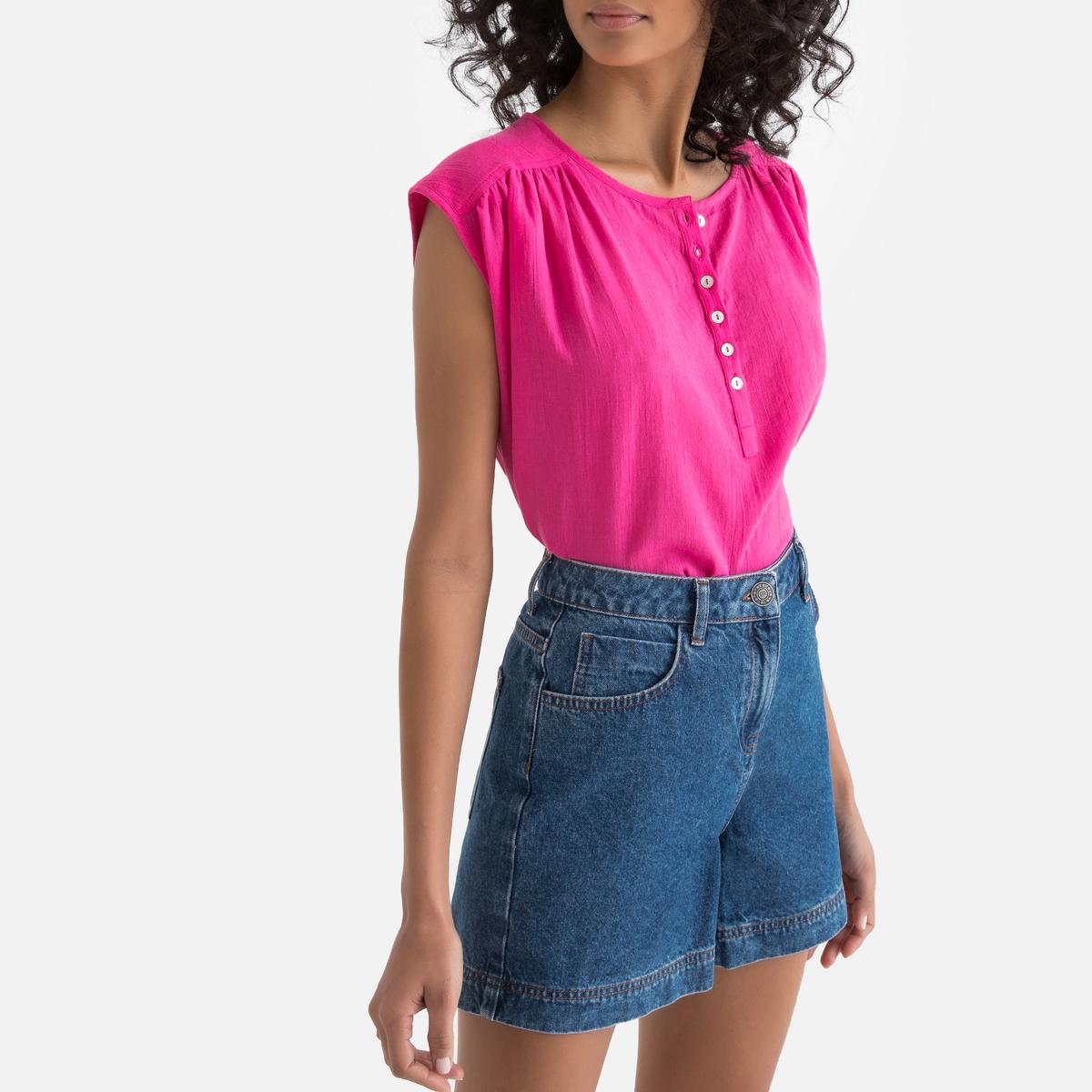 Рубашка La Redoute С тунисским вырезом без рукавов 34 (FR) - 40 (RUS) розовый футболка с тунисским вырезом из 100% хлопка с эффектом фламме
