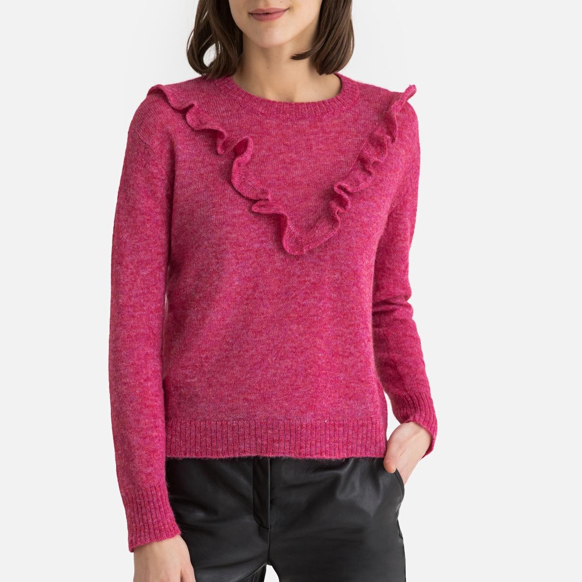 цена на Пуловер La Redoute С круглым вырезом из тонкого трикотажа BASIC M розовый