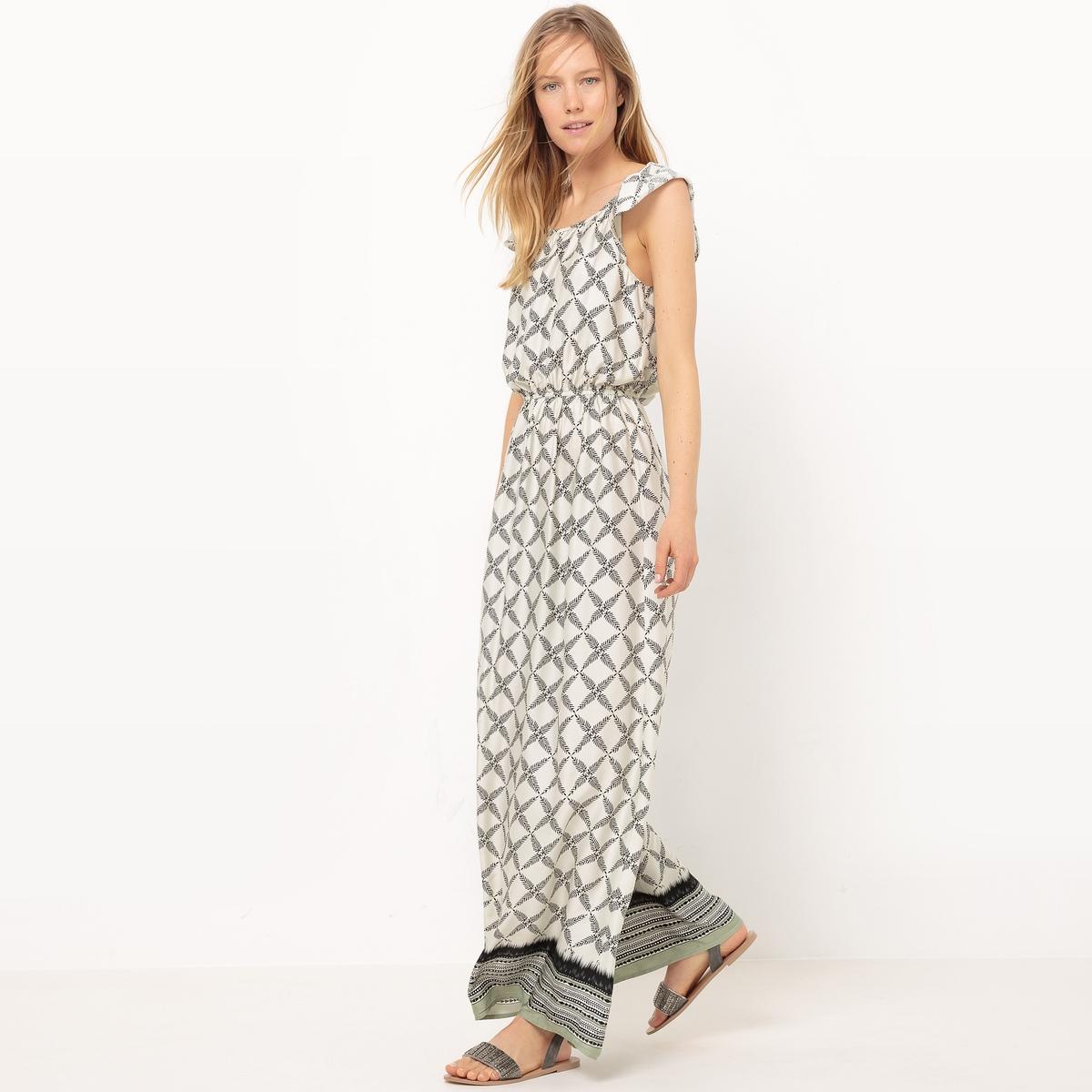 Платье длинное струящееся с принтом