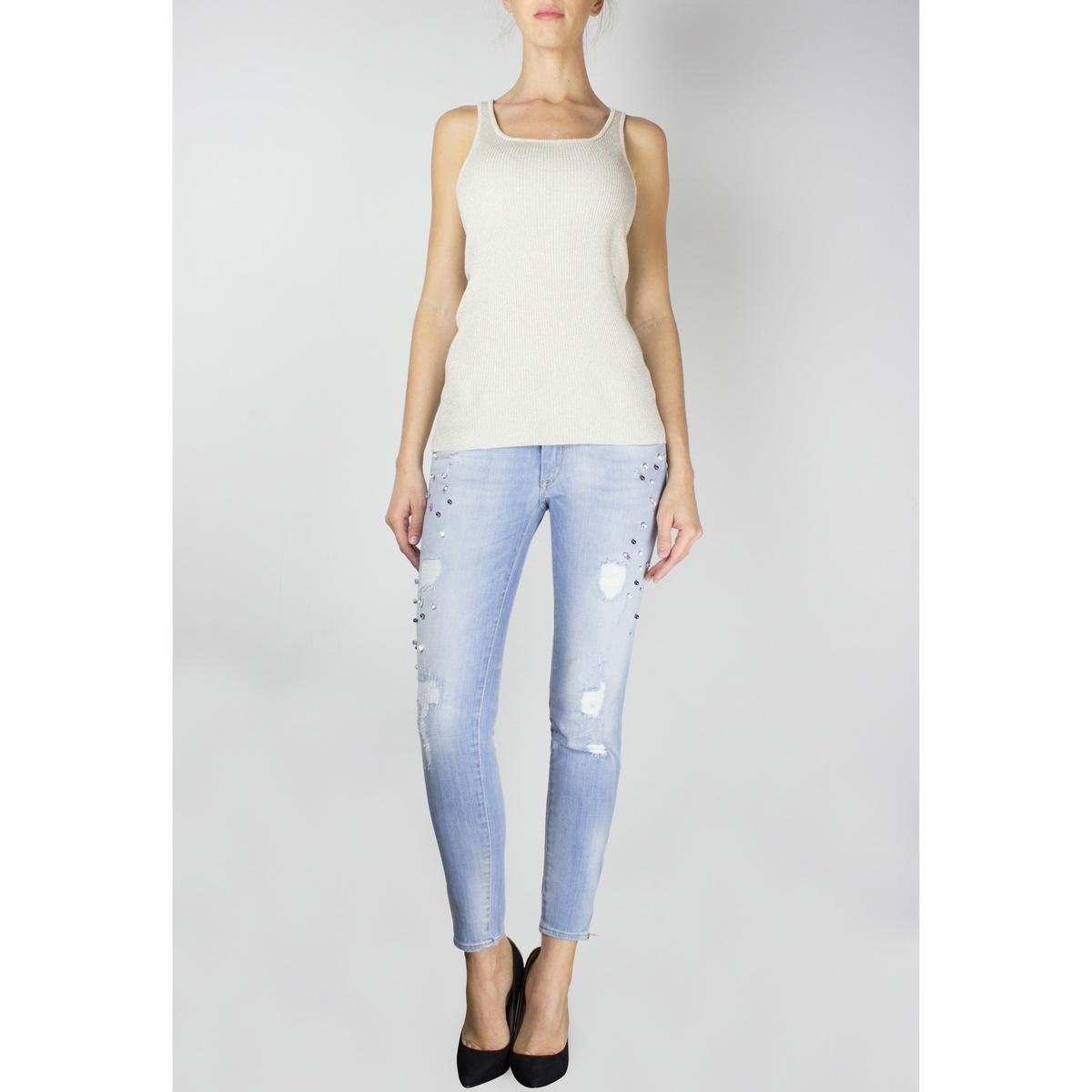 Jeans skinny destroy, fecho na base das perneiras