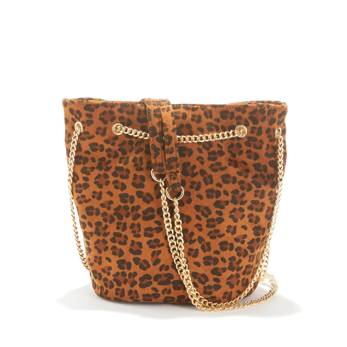 Bolso bucket pequeño efecto leopardo