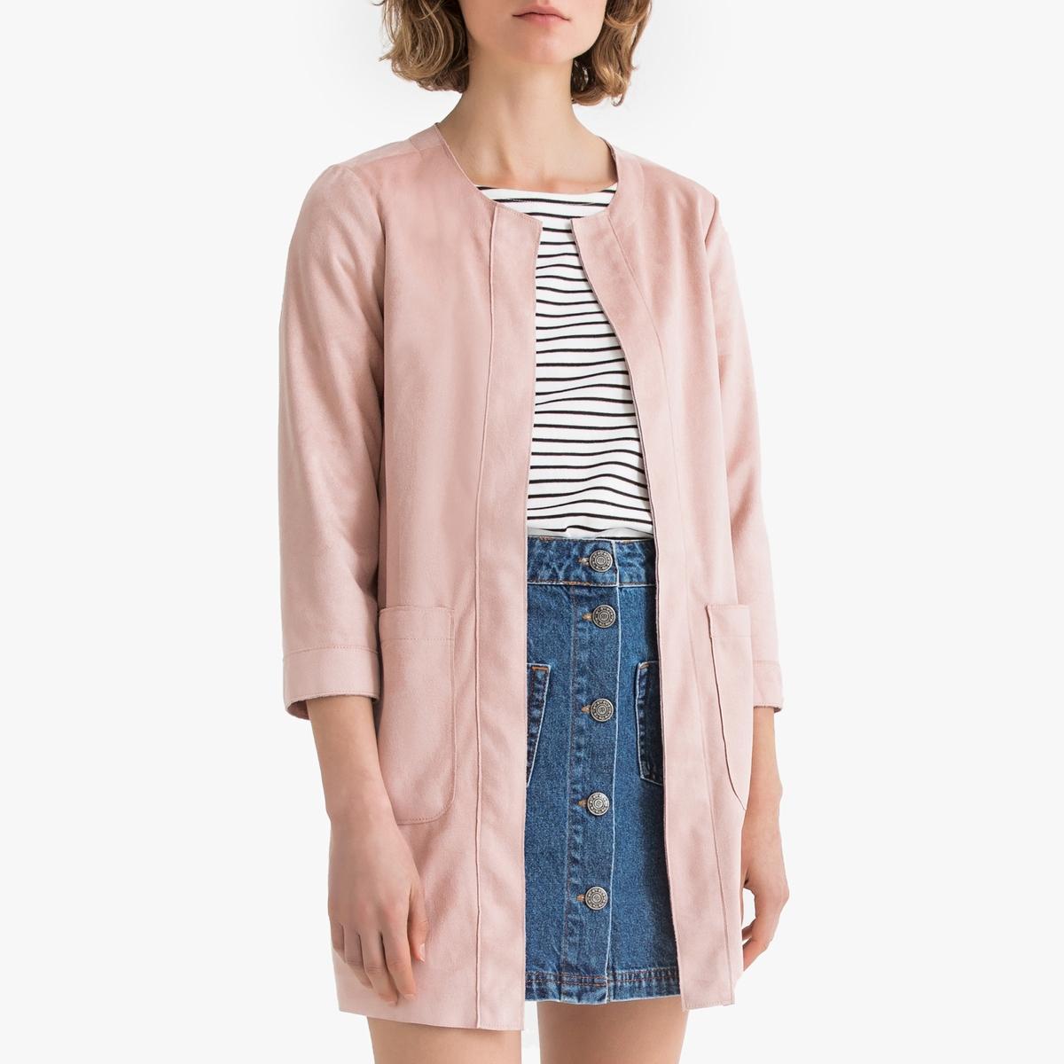 Жакет La Redoute Длинный прямого покроя с круглым вырезом M розовый бушлат длинный покроя оверсайз