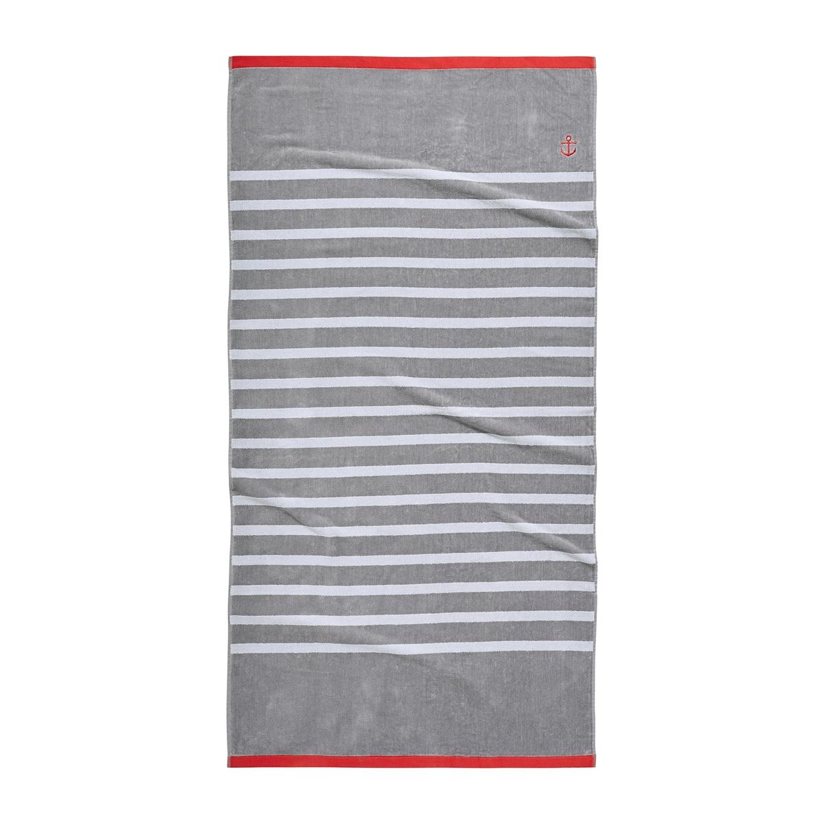 Полотенце La Redoute Пляжное MARINIERE единый размер серый полотенце la redoute для рук из махровой ткани хлопок с люверсом единый размер бежевый