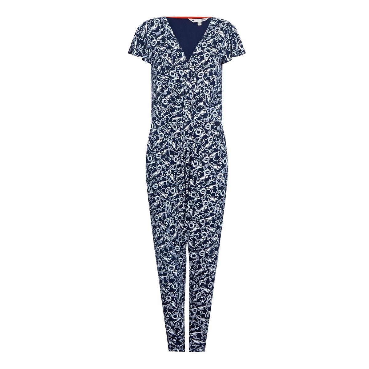 Комбинезон с брюками с рисункомМатериал : 95% вискозы, 5% эластана  Покрой комбинезона : свободный, широкий  Длина комбинезона : длина 32  Тип комбинезона : комбинезон с брюками<br><br>Цвет: рисунок темно-синий