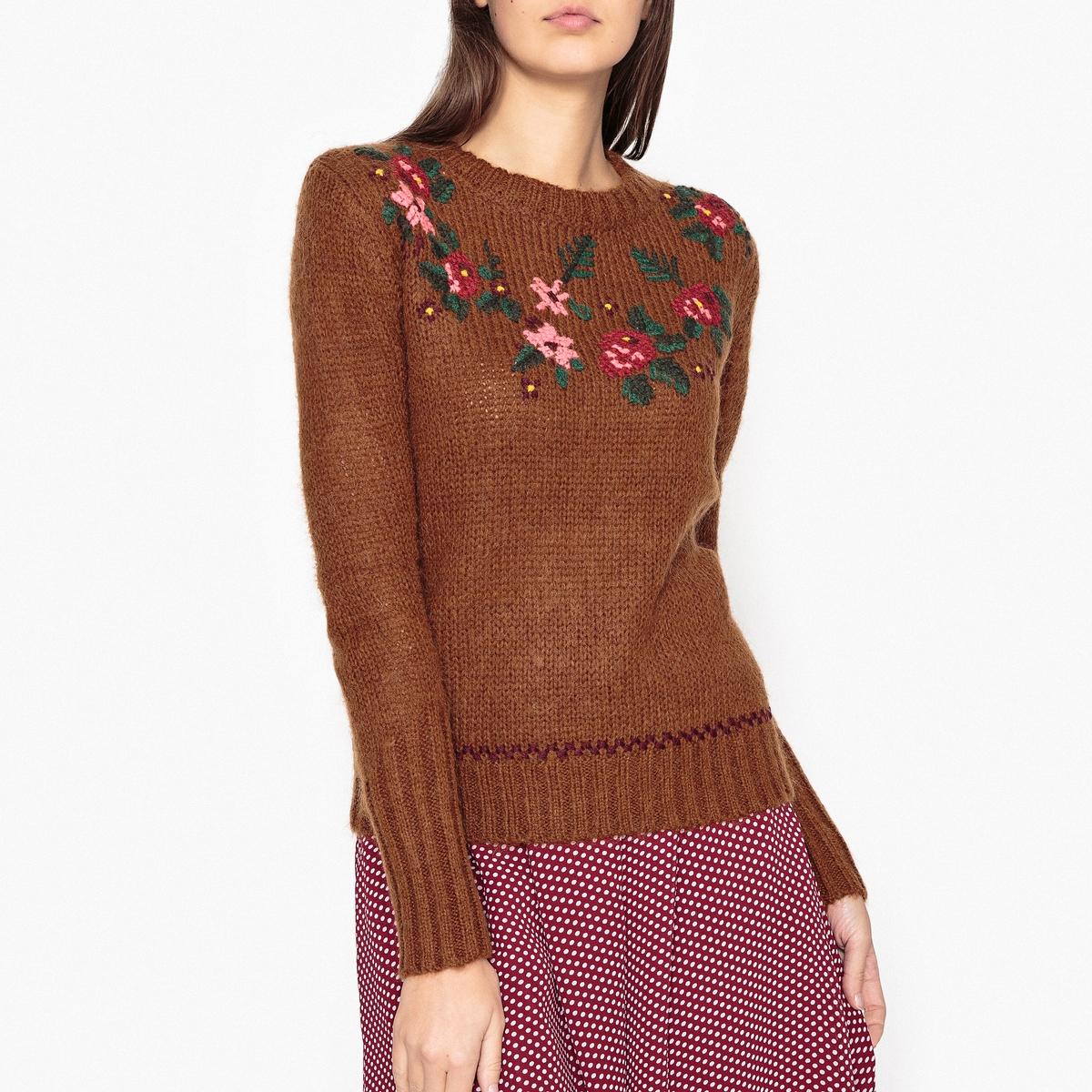 Пуловер NAUTICAОписание:Пуловер с длинными рукавами LEON AND HARPER - модель NAUTICA с цветочным рисунком.Детали •  Пуловер короткий •  Длинные рукава •  Круглый вырез •  Плотный трикотаж Состав и уход •  40% акрила, 30% мохера, 30% полиамида •  Следуйте советам по уходу, указанным на этикетке<br><br>Цвет: темно-бежевый,темно-синий
